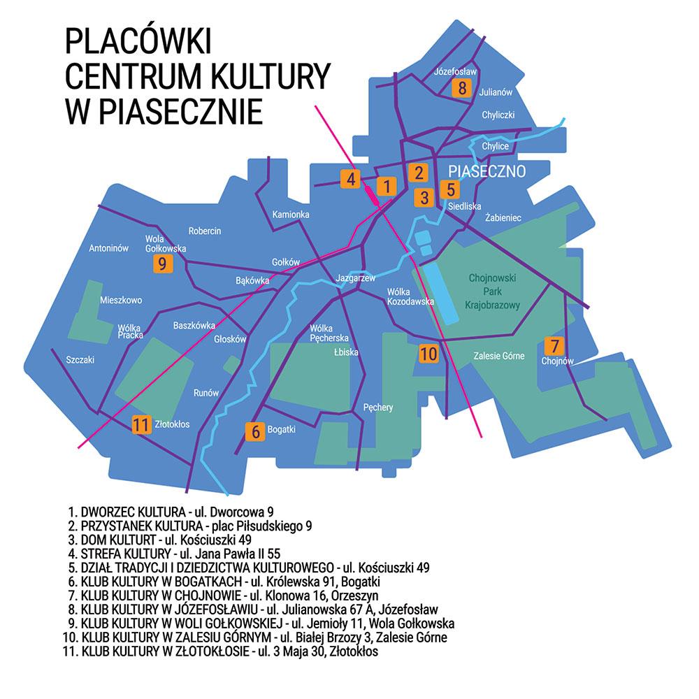 Mapa placówek Centrum Kultury