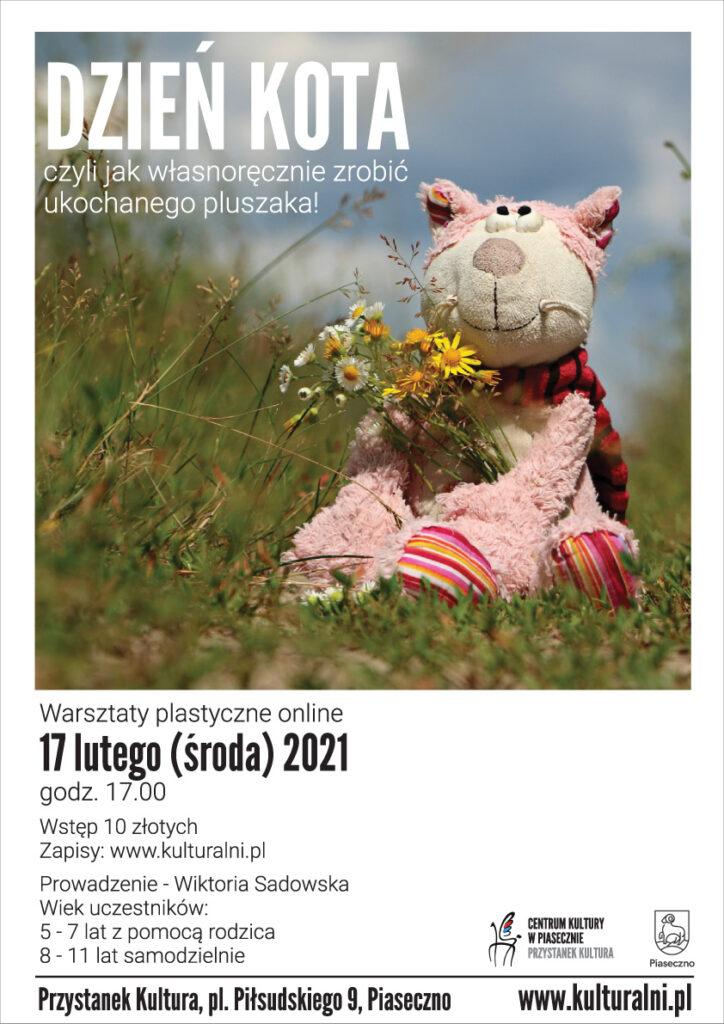 Plakat wydarzenia DZIEŃ KOTA czyli jak własnoręcznie zrobić ukochanego pluszaka! Warsztaty plastyczne online