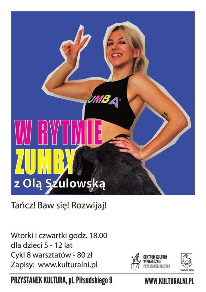 plakat wydarzenia WRytmie Zumby zOlą Szulowską