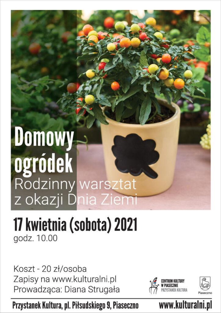 Plakat wydarzenia Domowy ogródek. Rodzinny warsztat zokazji Dnia Ziemii