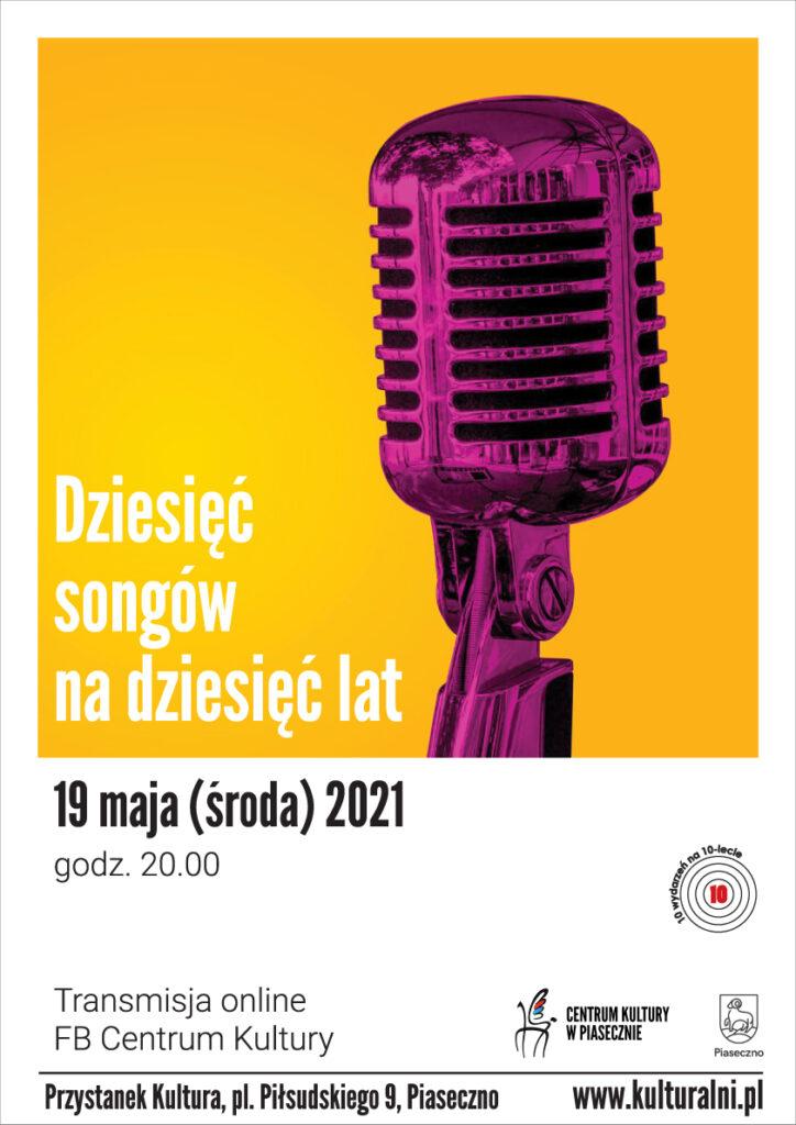 Plakat wydarzenia 10 songów na10 lat