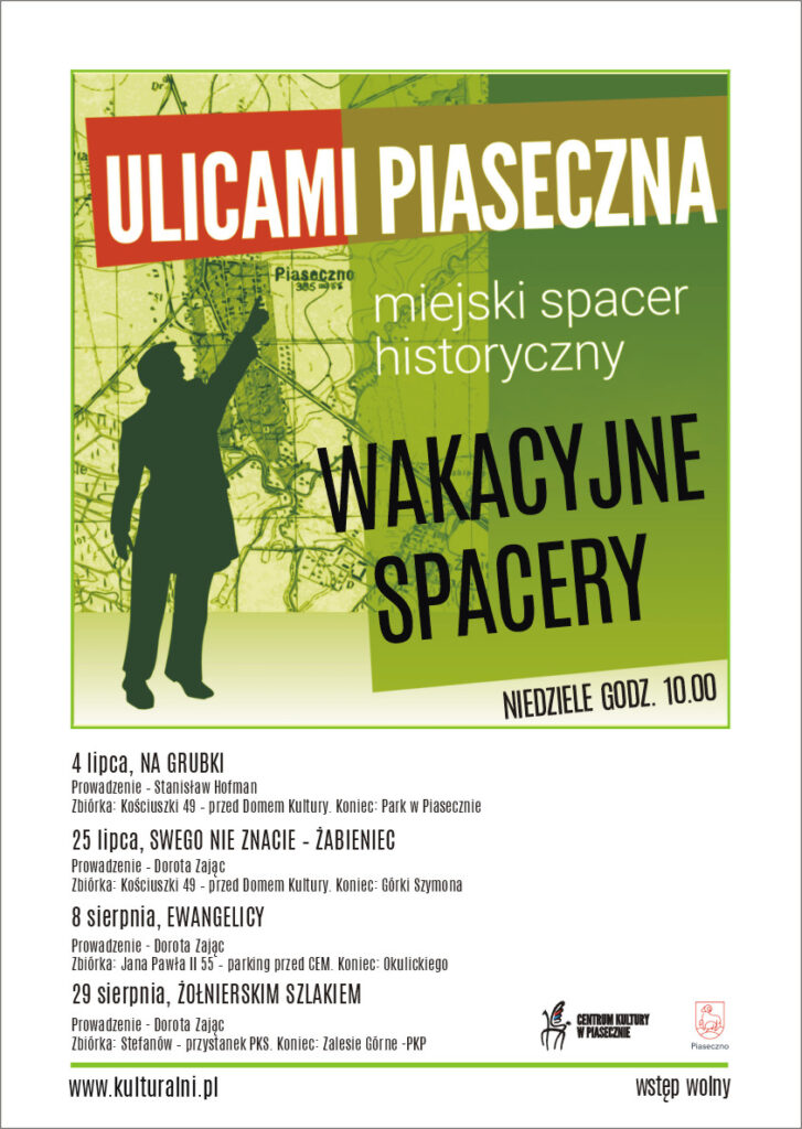 Plakat wydarzenia ULICAMI PIASECZNA. MIEJSKI SPACER HISTORYCZNY.