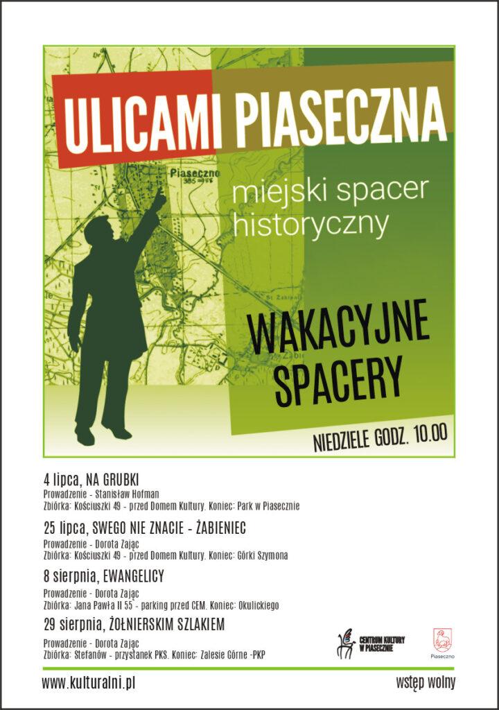 Plakat wydarzenia Ulicami piaseczna. Miejski spacer historyczny