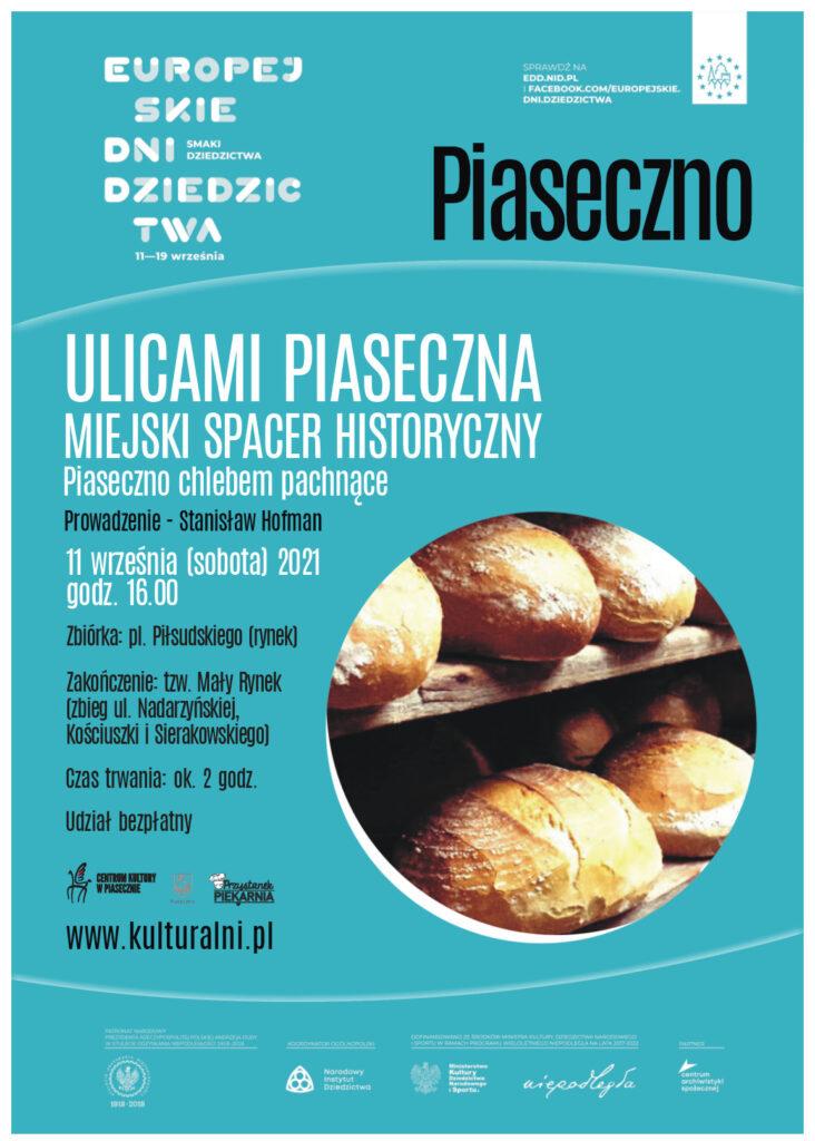 plakat wydarzenia Ulicami Piaseczna. Piaseczno chlebem pachnące