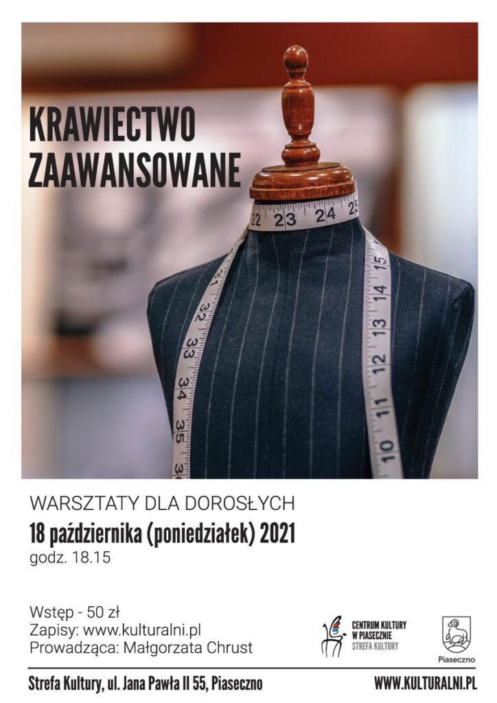 Plakat wydarzenia Krawiectwo zaawansowane