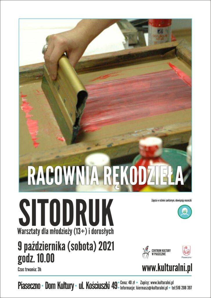 Plakat wydarzenia Pracownia Rękodzieła. Sitodruk